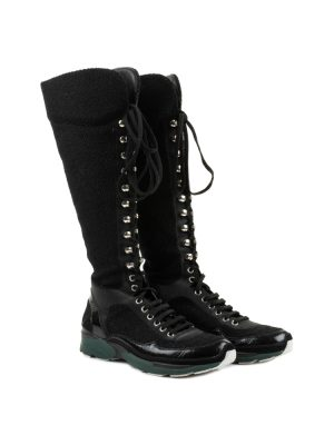 Black Tweed Sneaker Boots by Chanel - Le Dressing Monaco