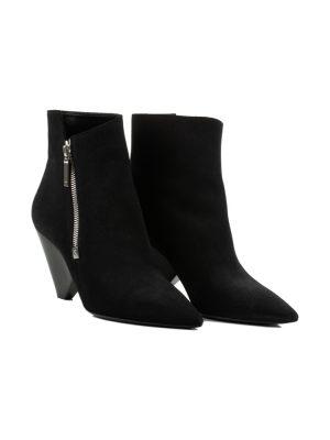 Niki Black Suede Ankle Boots by Saint Laurent - Le Dressing Monaco