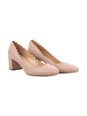 Nude Scalloped Leather Pumps by Chloé - Le Dressing Monaco