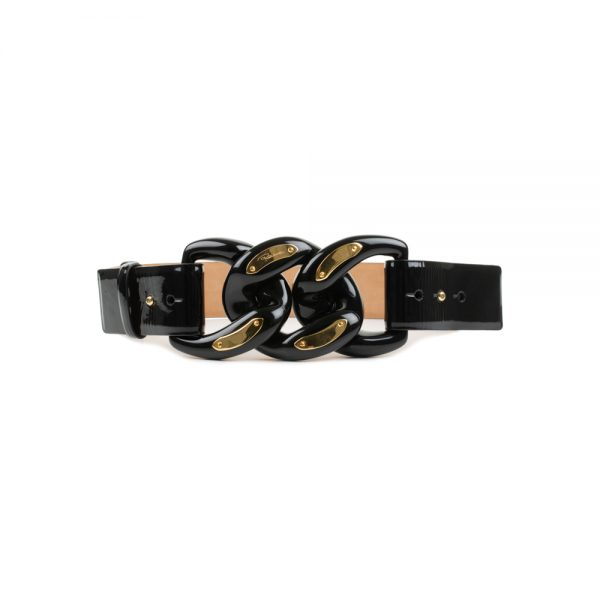 Plastic Chain Buckle And Patent Leather Belt by Cavalli - Le Dressing Monaco