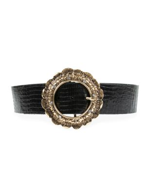 Gold Colored And Strass Buckle Leather Belt by Cavalli - Le Dressing Monaco