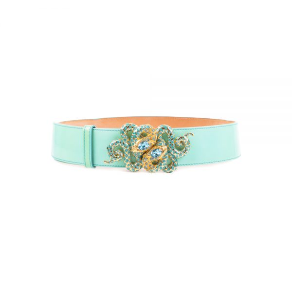 Golden Snakes With Stones Patent Leather Belt