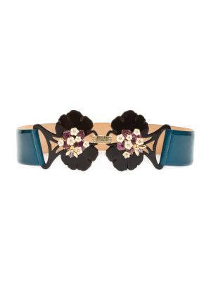Flower And Insect Buckle Petrol Blue Belt by Cavalli - Le Dressing Monaco