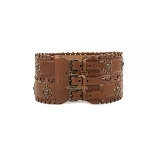 Leather Studded Corset Belt by Alaia - Le Dressing Monaco