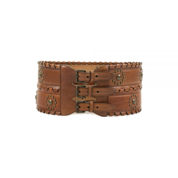 Leather Studded Corset Belt by Alaia - Le Dressing Monaco