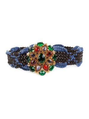 Buckle With Stones Woven Leather Belt by Cavalli - Le Dressing Monaco