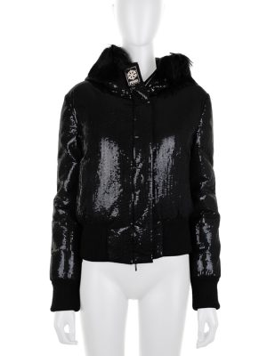 Black Sequin Goose Feather Hooded Jacket by Fendi - Le Dressing Monaco