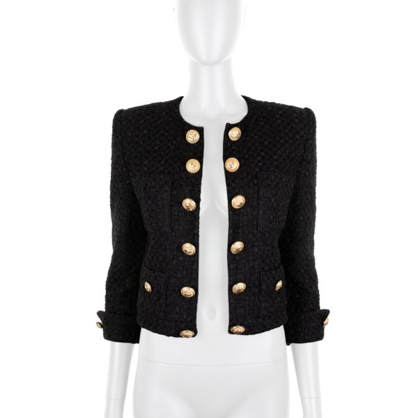 Gold Buttoned Short Tweed Jacket by Balmain