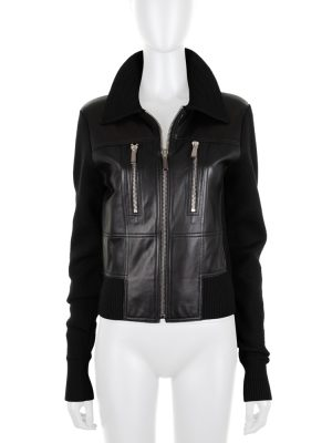 Black Leather and Wool Zipped Jacket by Barbara Bui - Le Dressing Monaco
