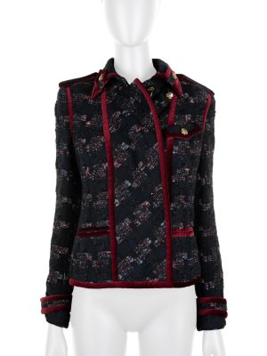 Tweed Pied de Poule Jacket With Velvet Details by Chanel - Le Dressing Monaco