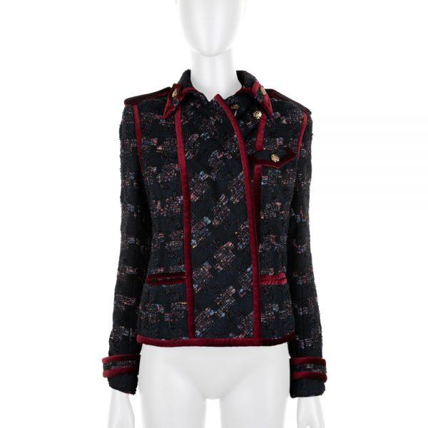 Tweed Pied de Poule Jacket With Velvet Details by Chanel - Le Dressing Monaco