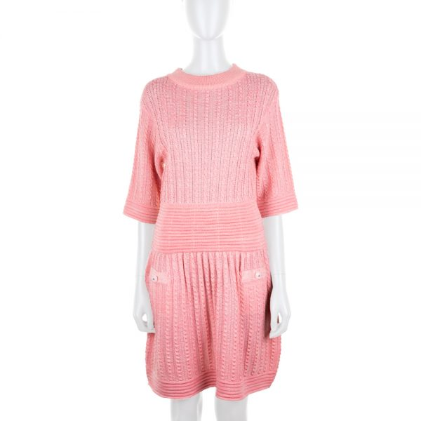 Pink Knitted Short Sleeved Dress by Chanel - Le Dressing Monaco