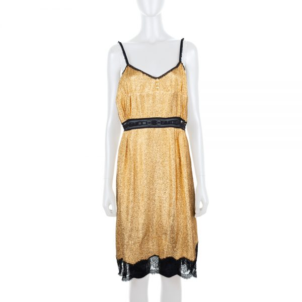Gold Lurex Mini Dress With Lace Details by Gucci - Le Dressing Monaco