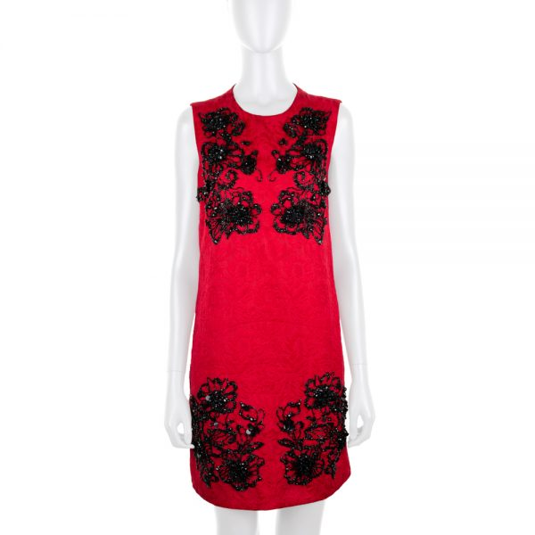 Red and Black Embroidered Mini Dress by Dolce e Gabbana - Le Dressing Monaco