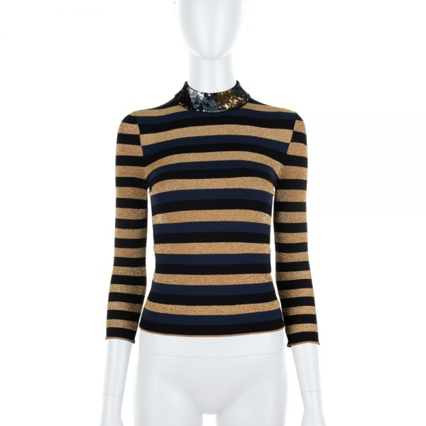 Striped Lurex Top with Sequin Collar by Sonia Rykiel - Le Dressing Monaco