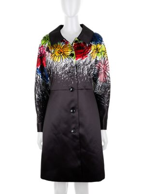 Drawn Multicolor Flowers Coat by Moschino - Le Dressing Monaco