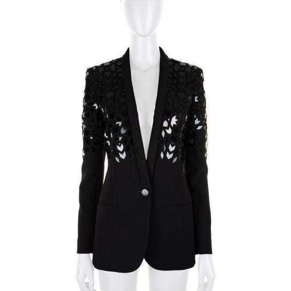 Laser Cut Plexi Embroidered Blazer by Barbara Bui - Le Dressing Monaco