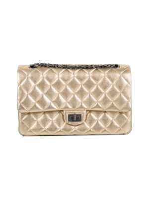 Gold Medium 2.55 Flap Bag by Chanel - Le Dressing Monaco
