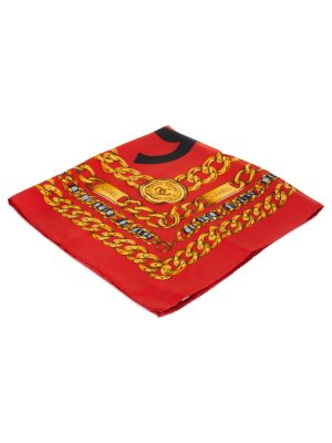 Red Gold Chain Silk Scarf by Chanel - Le Dressing Monaco