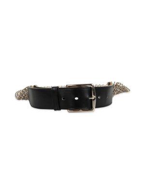 Black Leather and Metal Chain Etrivière Belt by Hermès - Le Dressing Monaco