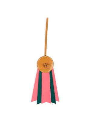 Pink Green Leather Ribbon Medal Bag Charm by Hermès - Le Dressing Monaco