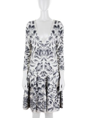 Grey Knitted V Neck Floral Dress by Alexander McQueen - Le Dressing Monaco