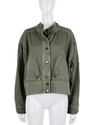 Khaki Crossed Back Oversized Cotton Jacket by Valentino - Le Dressing Monaco