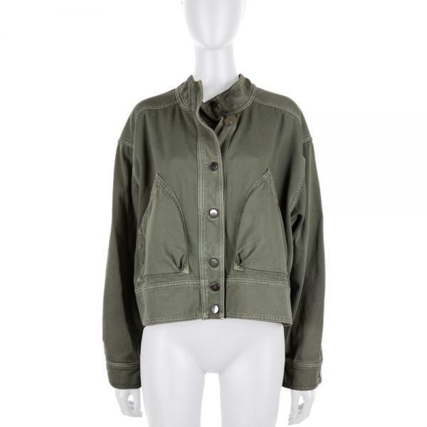 Khaki Crossed Back Oversized Cotton Jacket by Valentino - Le Dressing Monaco