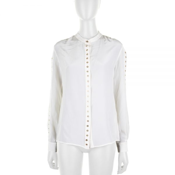 White Silk Shirt With Metal Rings by Roberto Cavalli - Le Dressing Monaco