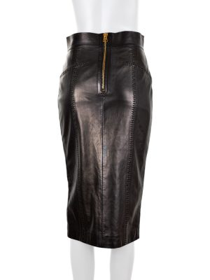 Leather Pencil Skirt Gold Front Zip by Tom Ford - Le Dressing Monaco