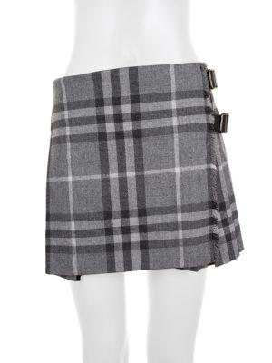 Grey Mini Wool Kilt by Burberry - Le Dressing Monaco