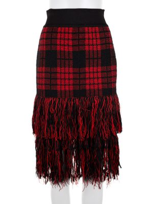 Tartan Skirt With Fringes by Balmain - Le Dressing Monaco