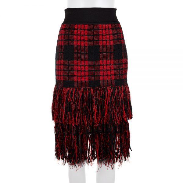 Tartan Skirt With Fringes by Balmain - Le Dressing Monaco