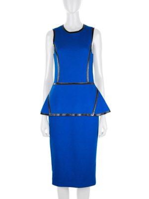 Blue Flannel Wool Peplum Dress by Mickael Kors - Le Dressing Monaco