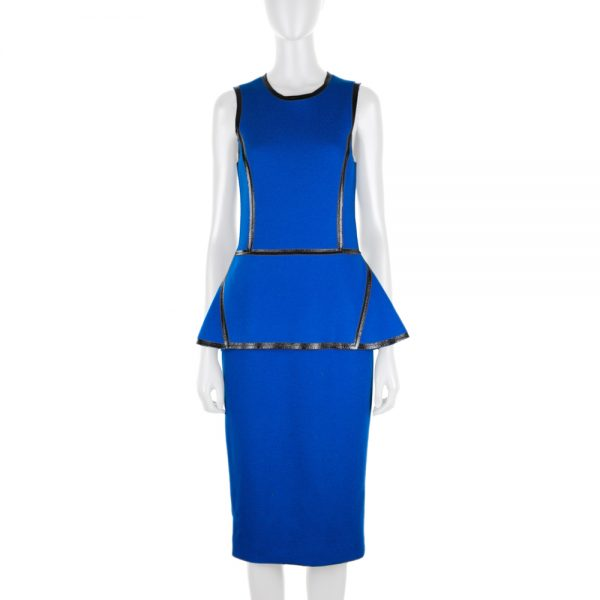 Blue Flannel Wool Peplum Dress by Mickael Kors - Le Dressing Monaco