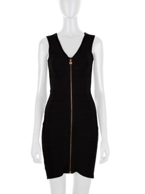 Front Zipped Black Bandage Dress by Hervé Leger - Le Dressing Monaco
