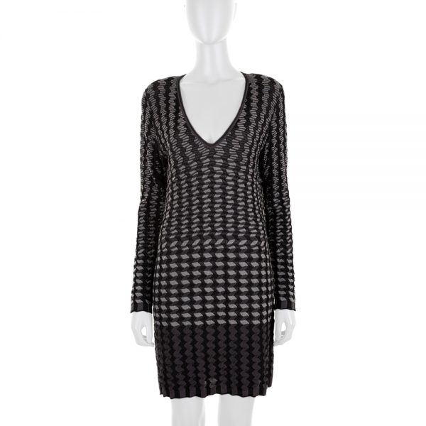 Long Sleeved Knitted Grey Dress by Missoni - Le Dressing Monaco