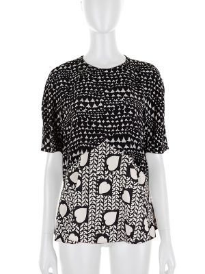 Printed Black and White Silk Top by Stella McCartney - Le Dressing Monaco