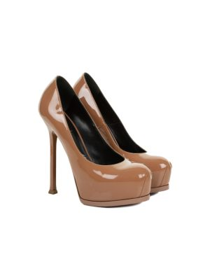 Brown Patent Platform Leather Pumps by Saint Laurent - Le Dressing Monaco