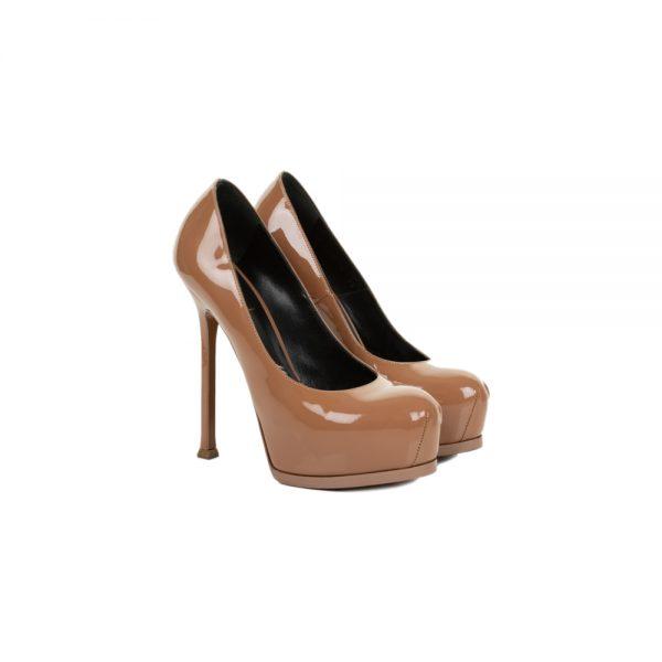 Brown Patent Platform Leather Pumps by Saint Laurent - Le Dressing Monaco