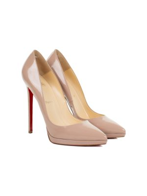 Nude Patent Leather Plateau Pumps by Christian Louboutin - Le Dressing Monaco