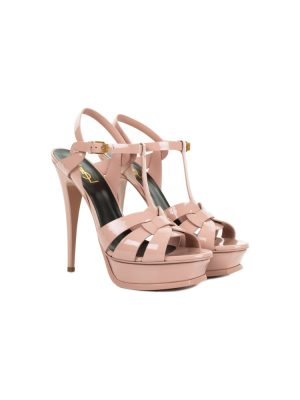 Pink Tribute Platform Patent Sandals by Saint Laurent - Le Dressing Monaco