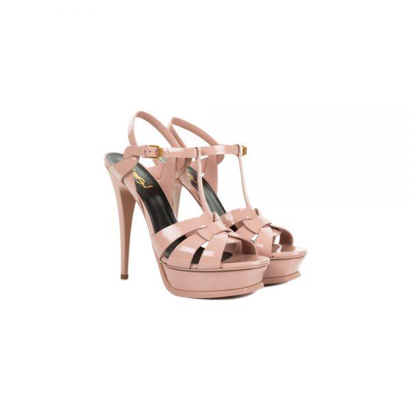 Pink Tribute Platform Patent Sandals by Saint Laurent - Le Dressing Monaco