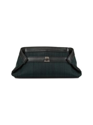 Green Folded Canvas Clutch by Akris - Le Dressing Monaco