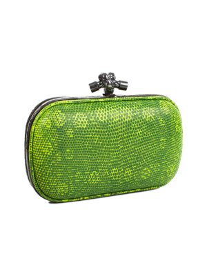 Embossed Green Leather Knot Clutch by Bottega Veneta - Le Dressing Monaco