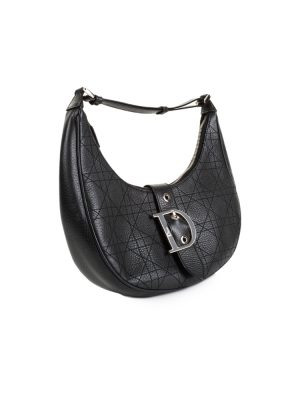 Black Leather Half Moon Handbag by Christian Dior - Le Dressing Monaco