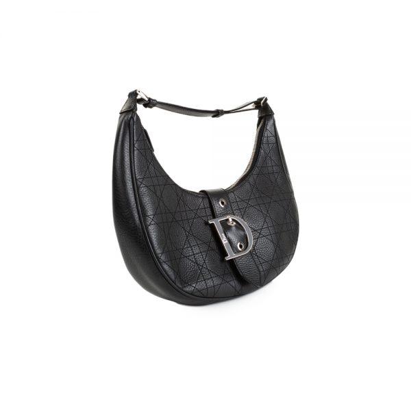 Black Leather Half Moon Handbag by Christian Dior - Le Dressing Monaco