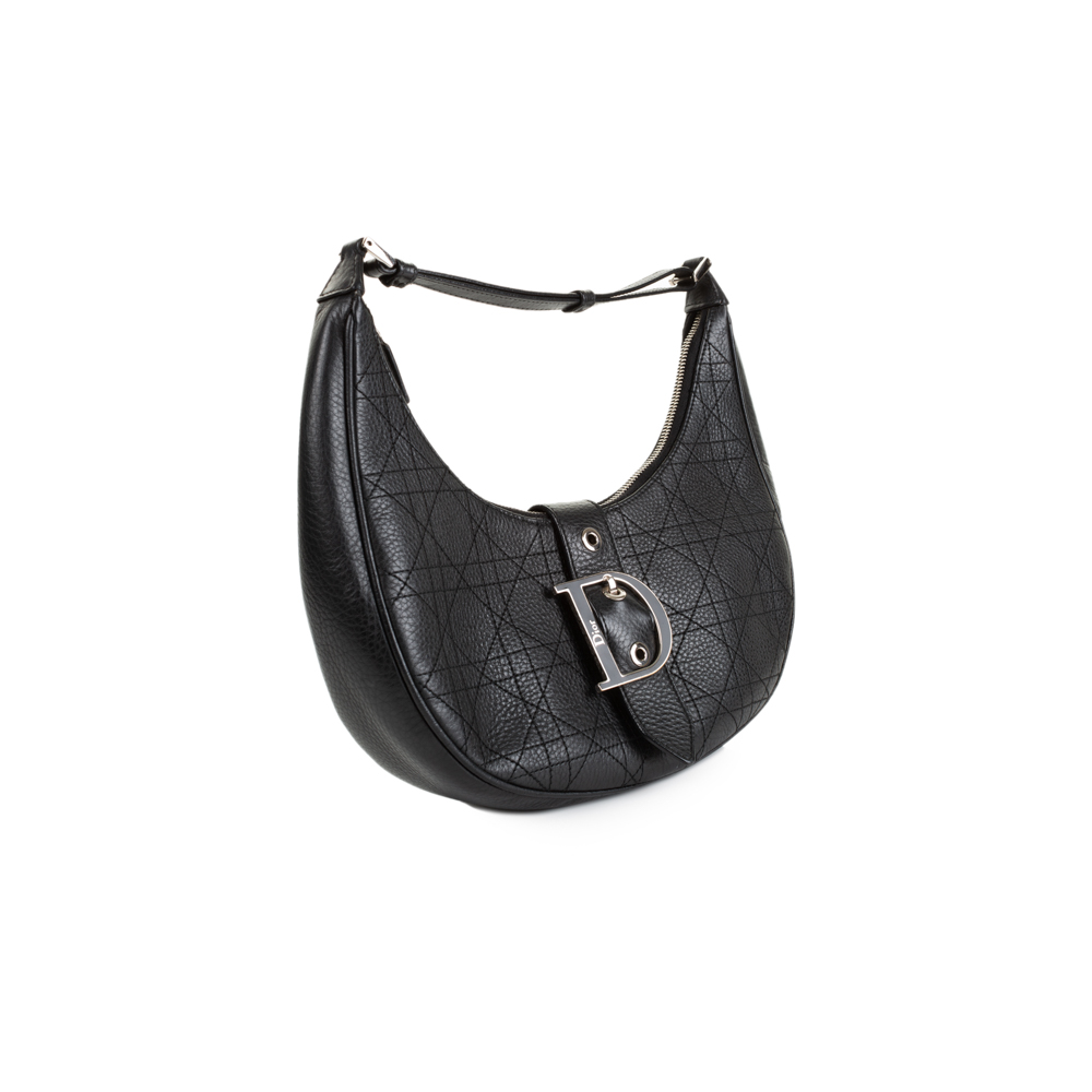 d66db0f52f15d Black Leather Half Moon Handbag by Christian Dior - Le Dressing Monaco