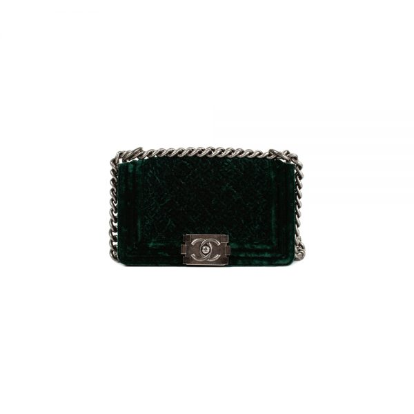 Green Velvet Mini Boy Bag by Chanel - Le Dressing Monaco
