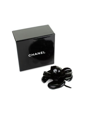 Black Patent Camellia Brooch by Chanel - Le Dressing Monaco